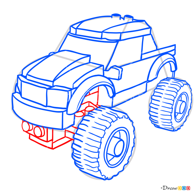 How to Draw Monster Truck, Lego City