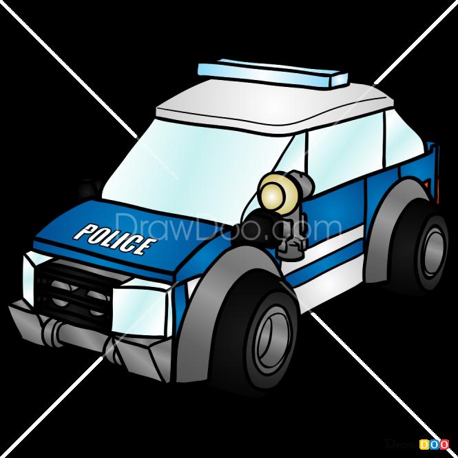 How to Draw Patrol Car, Lego City