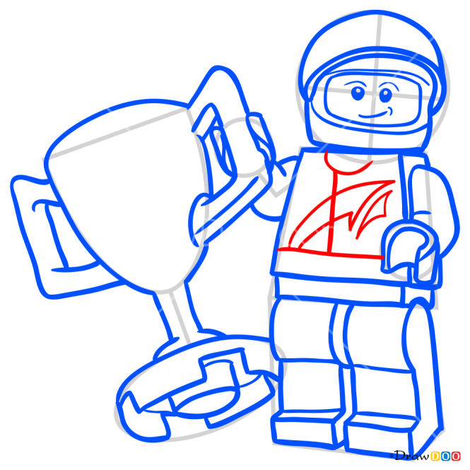 How to Draw Race Car Driver, Lego City