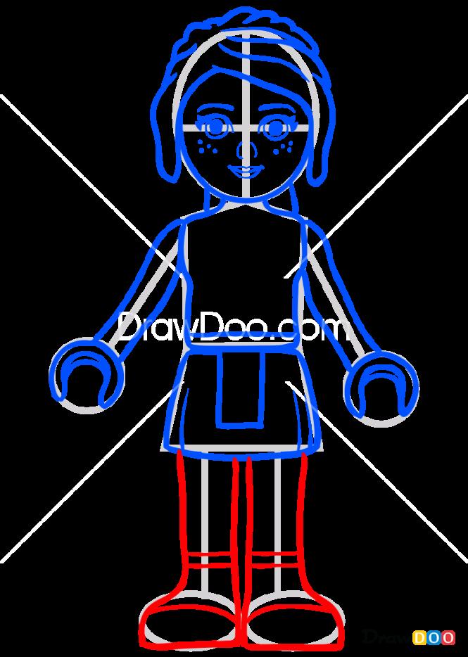 How to Draw Mia Lego, Lego Friends