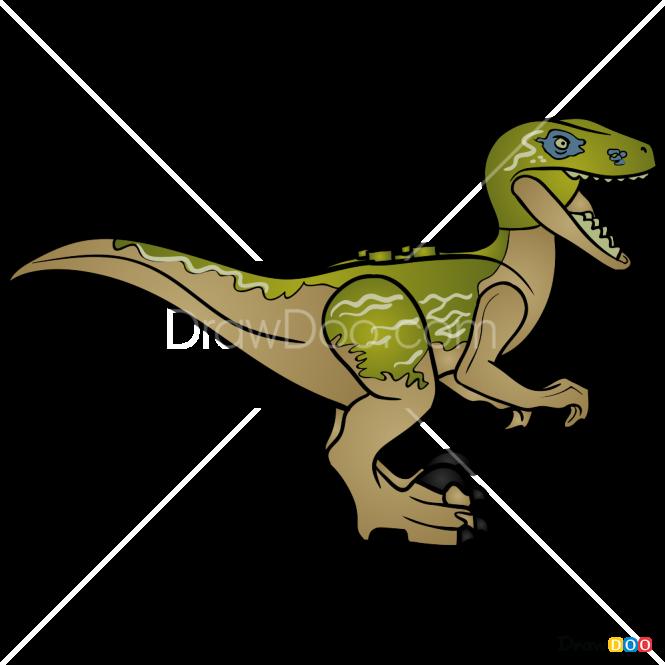 How to Draw Velociraptor Delta, Lego Jurassic World