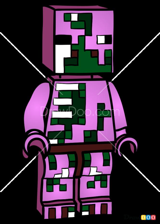 How to Draw Zombie Pigman, Lego Minecraft