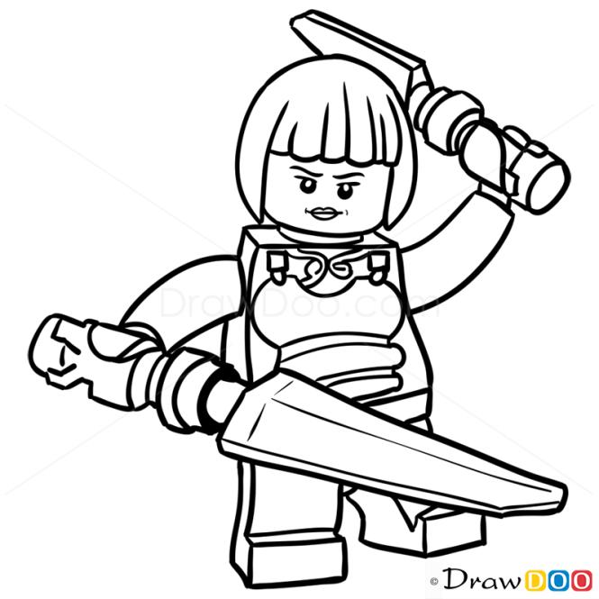 How to draw nya lego ninjago
