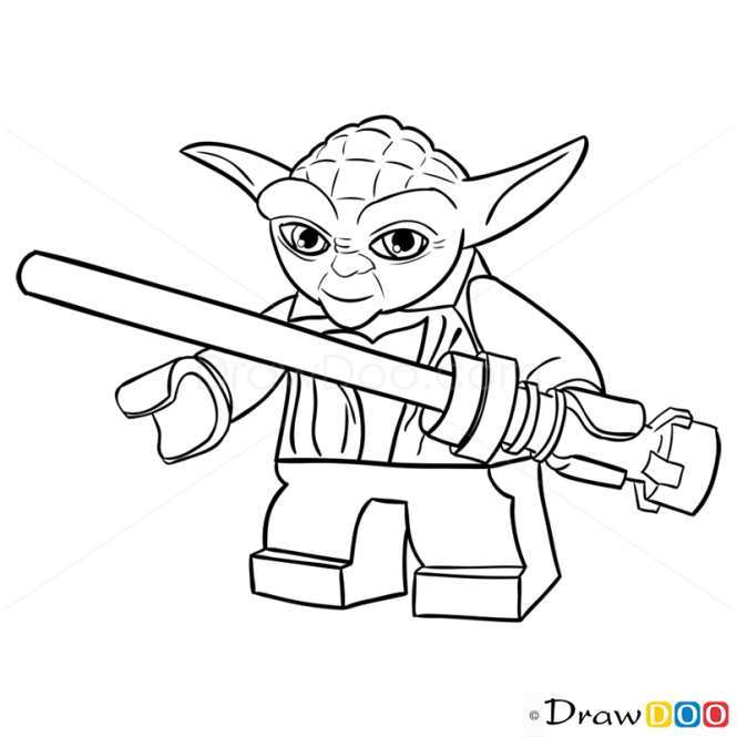 How to draw yoda lego starwars