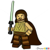 How to Draw Qui-Gon Jinn, Lego Starwars