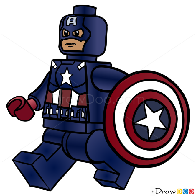 How To Draw Captain America Lego Super Heroes