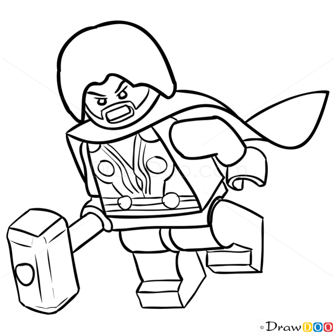 How to draw thor lego super heroes