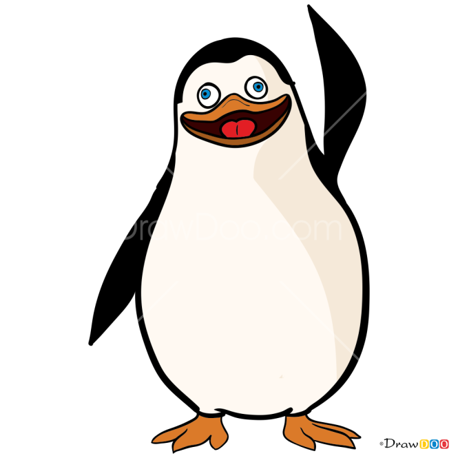 How to Draw Private Waving, Penguins