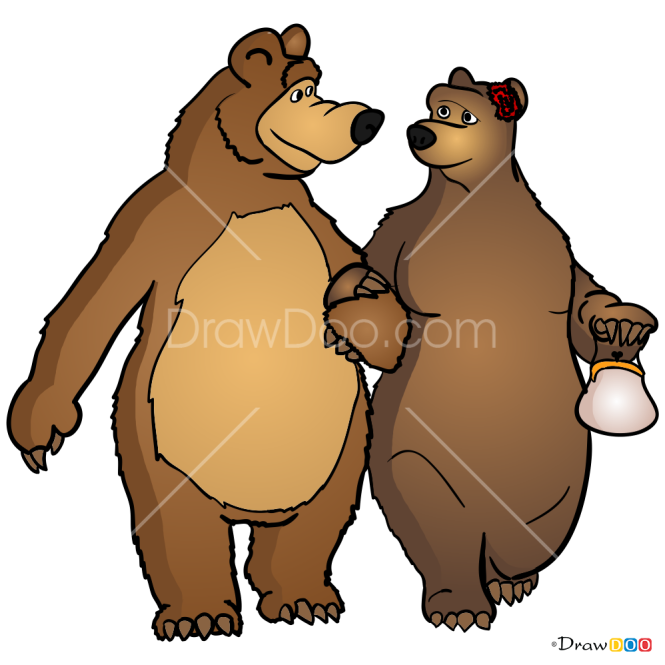 How to Draw Bear and She-Bear, Masha and The Bear