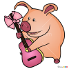 How to Draw Pig with guitar, Masha and The Bear