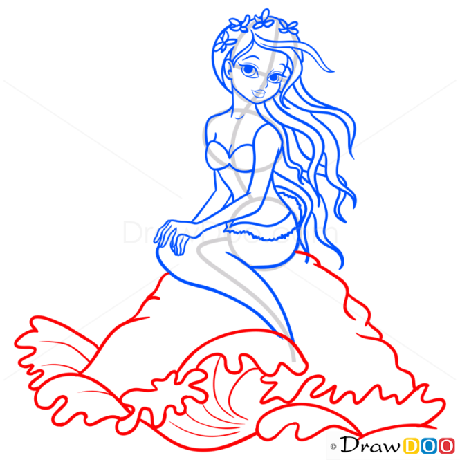 How to Draw Red Haired Mermaid, Mermaids
