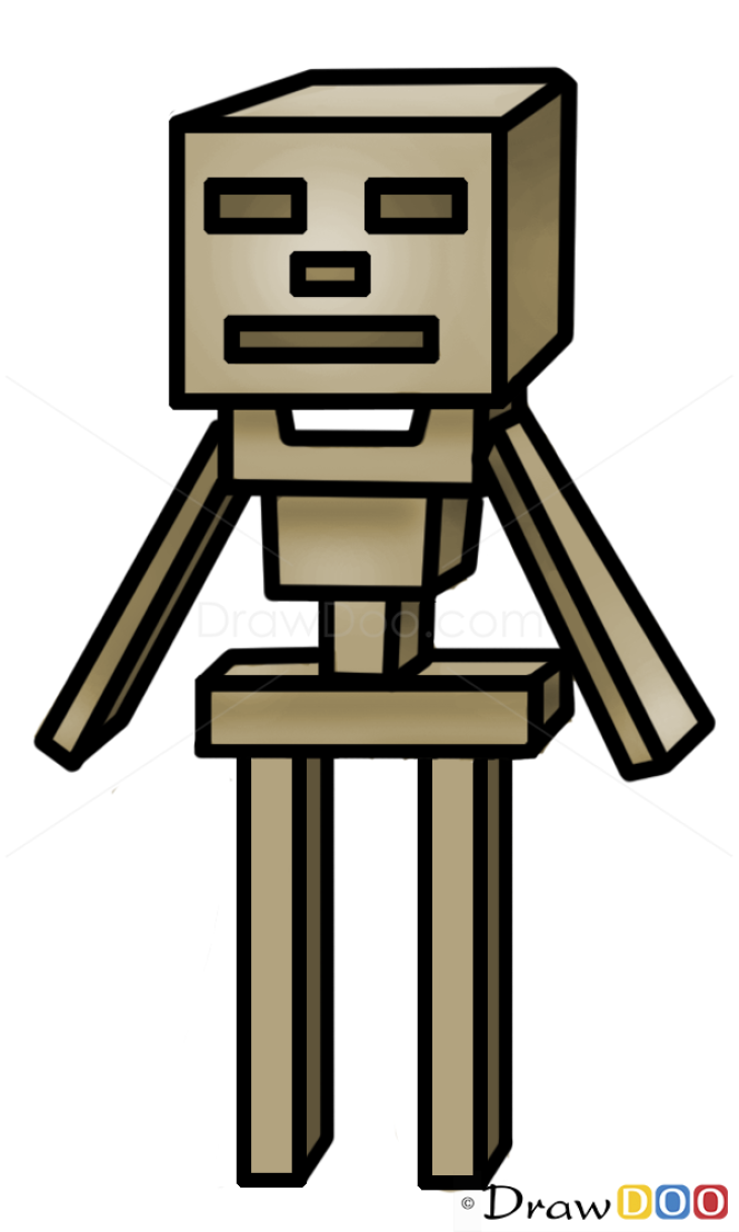 skeleton drawing how to draw minecraft characters