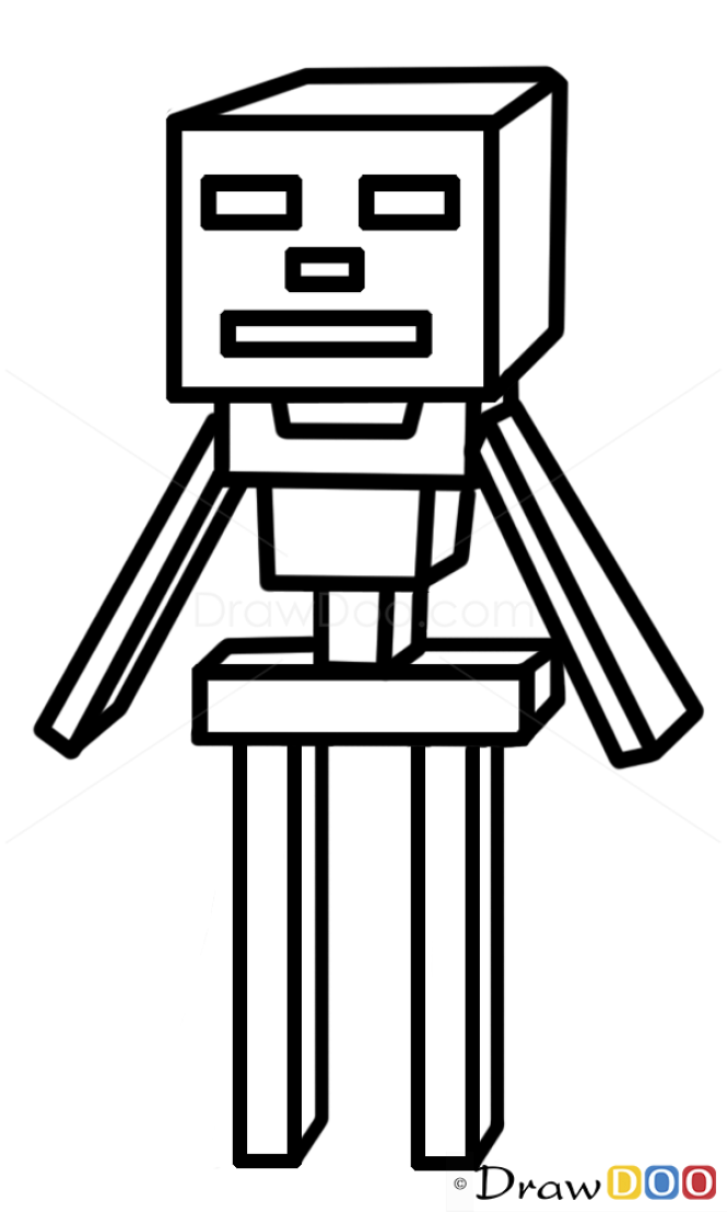 Skeleton Drawing, How to Draw Minecraft Characters