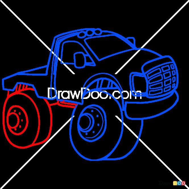 How to Draw Chibi Monster Truck, Monster Trucks