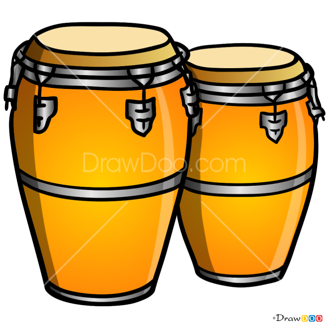 How to Draw Bongo Drums, Musical Instruments
