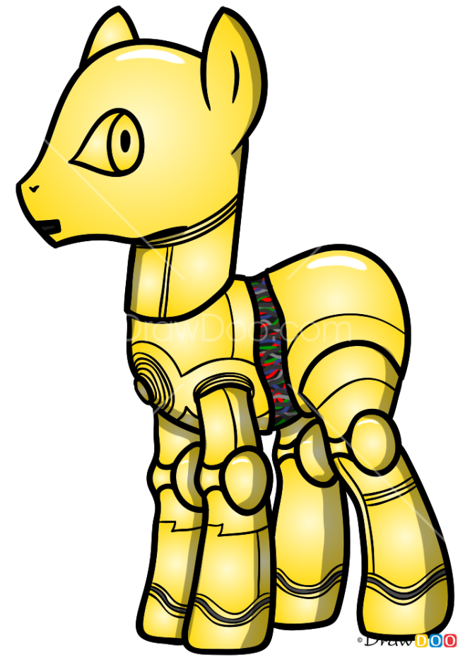 How to Draw C-3PO, My Star Wars Pony