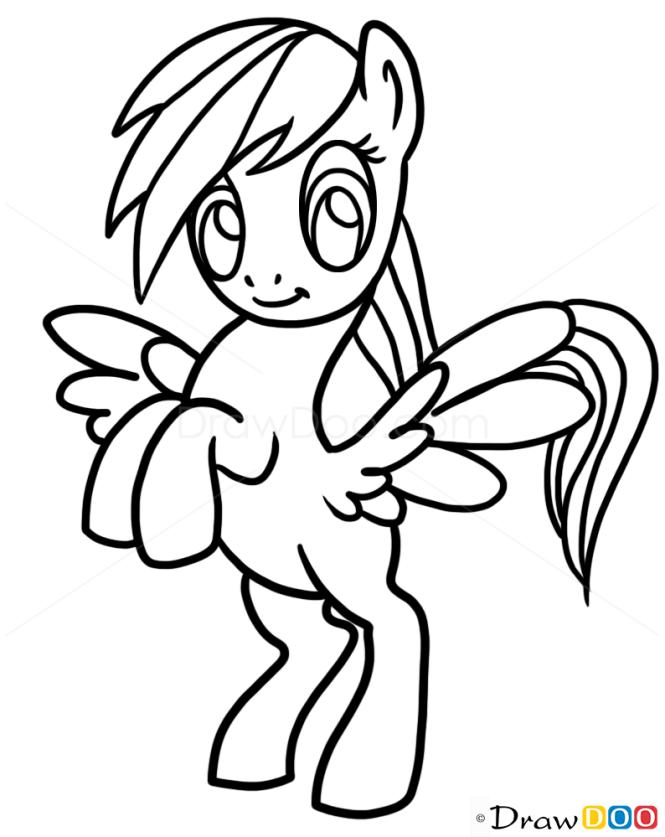 How To Draw Rainbow Dash Easy My Little Pony