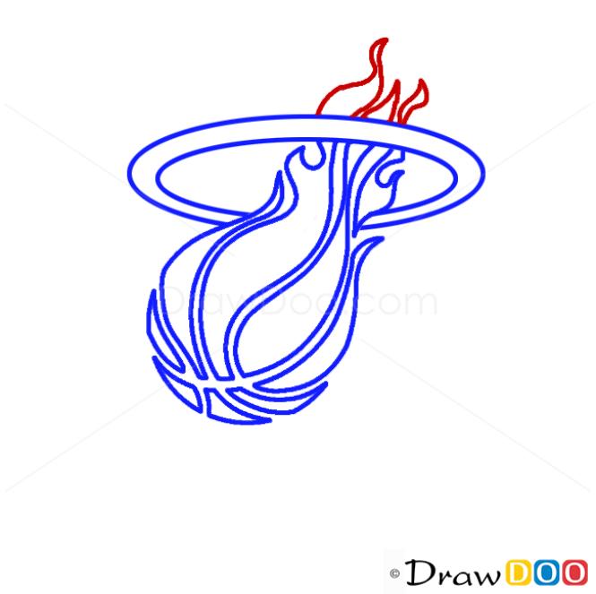 How to Draw Miami Heat, Basketball Logos