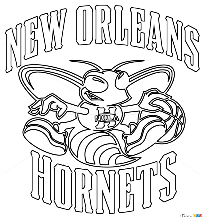 How to Draw New Orleans Hornets, Basketball Logos