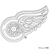 How to Draw Detroit Red Wings, Hockey Logos