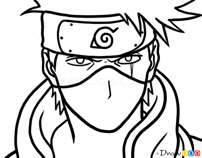 How to Draw Kakashi Hatake, Face, Naruto
