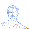 how to draw roronoa zoro face one piece