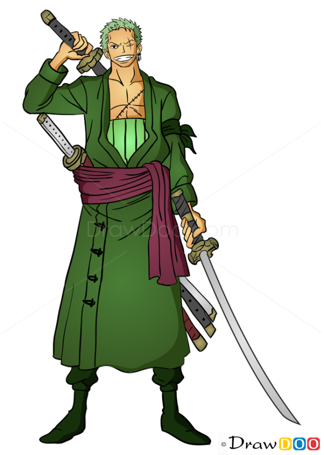 How to Draw Roronoa Zoro, One Piece