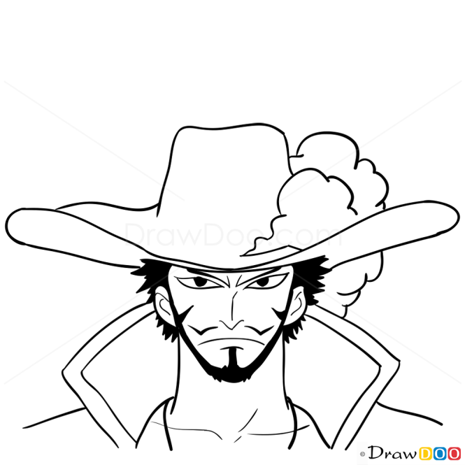 How to Draw Dracule Mihawk Face, One Piece
