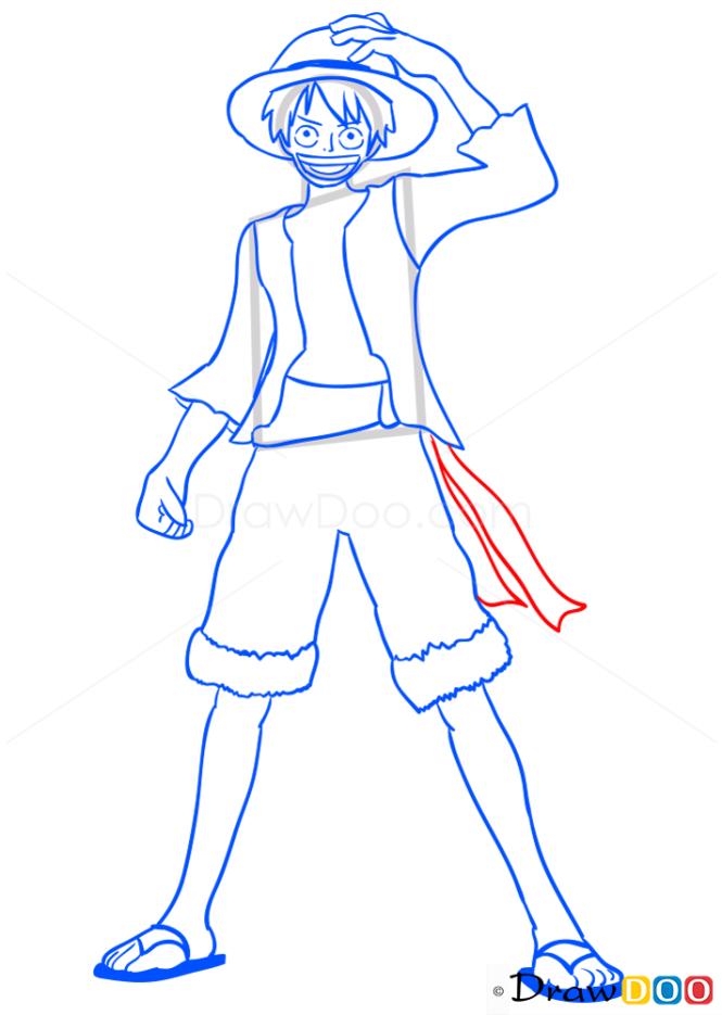 How to Draw Monkey D. Luffy, One Piece