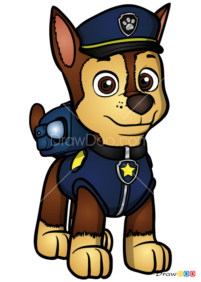 How to Draw Chase, Paw Patrol