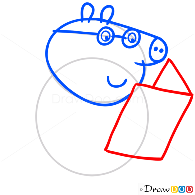 How to Draw Daddy Pig, Peppa Pig