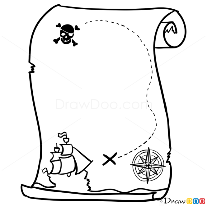 how to draw pirate map pirates