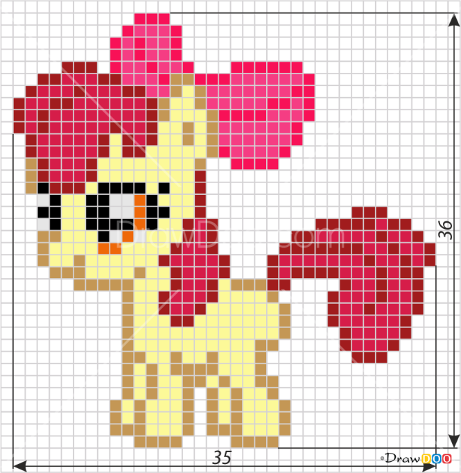 How To Draw Apple Bloom, Pixel Cartoons