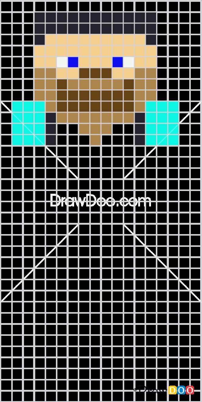 How to Draw Steve, Pixel Minecraft
