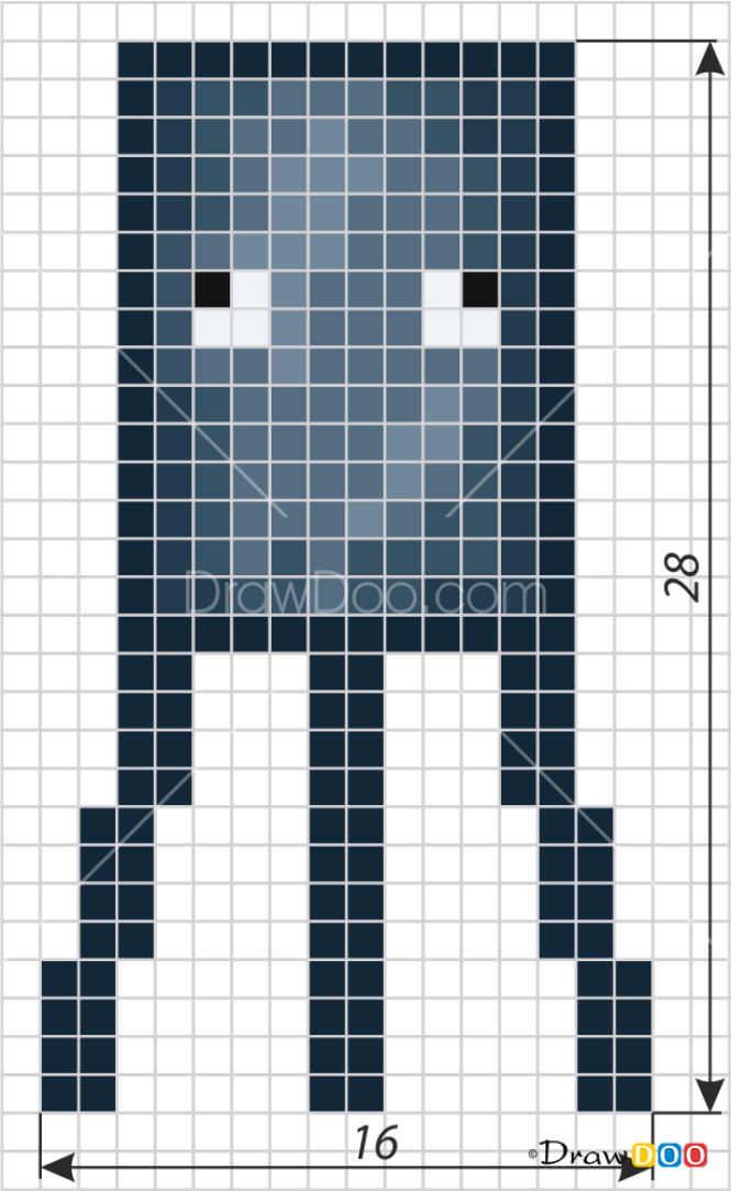 How To Draw Squid Pixel Minecraft