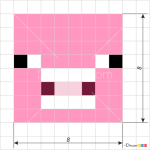 How to Draw Pig Face, Pixel Minecraft
