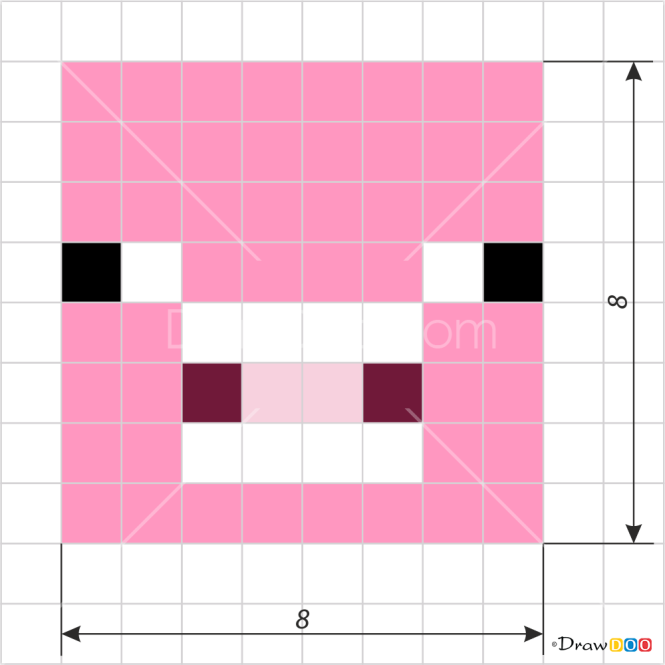 How To Draw Pig Face Pixel Minecraft