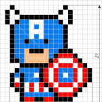 How to Draw Captain America, Pixel Superheroes