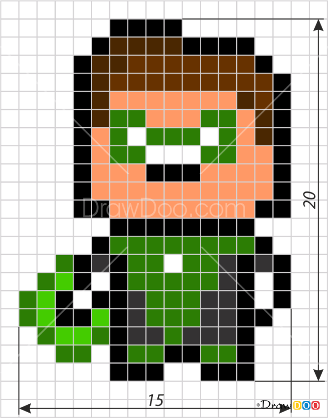 How to Draw The Green Lantern, Pixel Superheroes