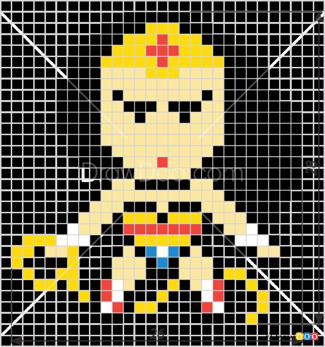 How To Draw Wonderwoman Pixel Superheroes