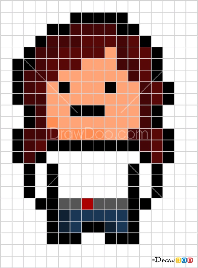 How to Draw Black Widow, Pixel Superheroes
