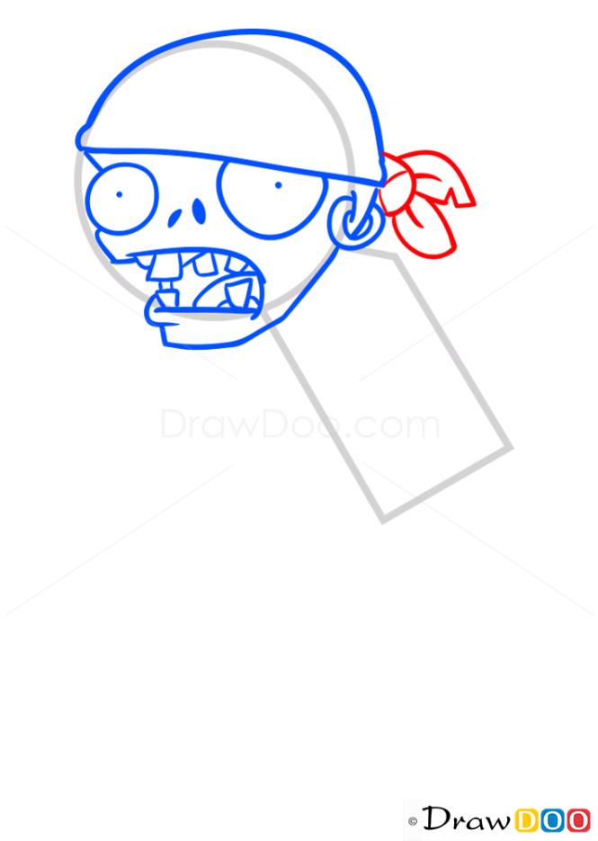 How to Draw Pirate Zombie, Plants vs Zombies
