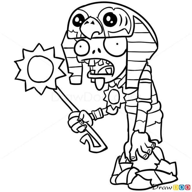 How to Draw Ra Zombie, Plants vs Zombies