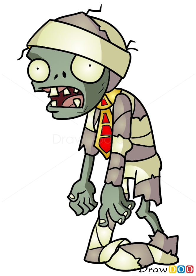 How to Draw Mummy Zombie, Plants vs Zombies