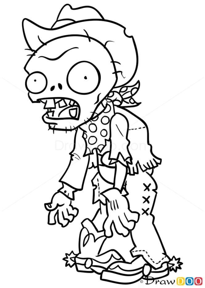 How To Draw Cowboy Zombie Plants Vs Zombies