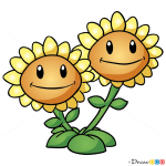 How to Draw Twin Sunflower, Plants vs Zombies