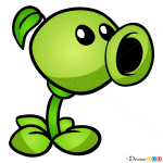 How to Draw Peashooter, Plants vs Zombies