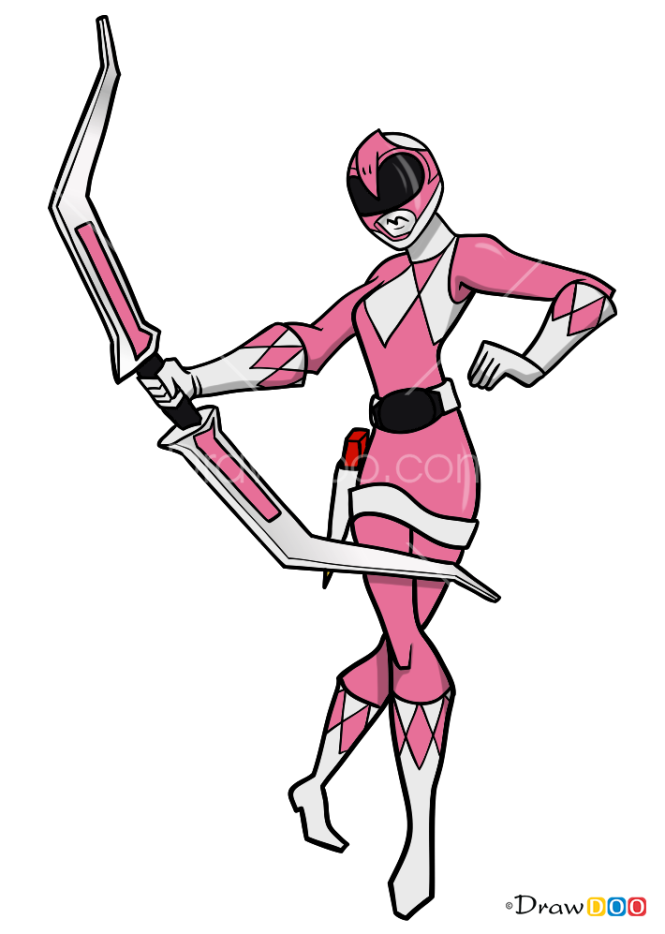 how to draw pink ranger power rangers