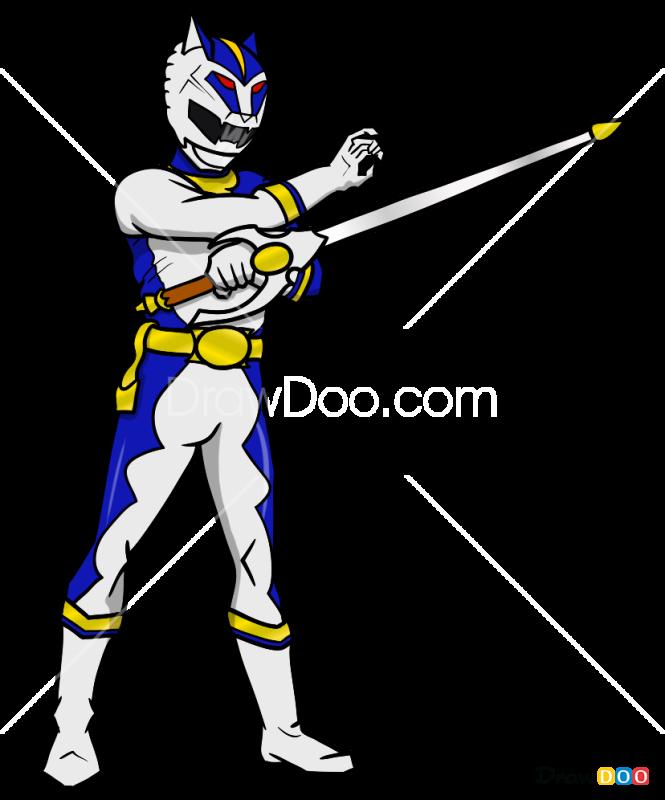 How to Draw Lunar Wolf Ranger, Power Rangers