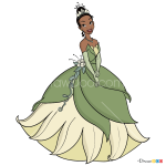 How to Draw Tiana, Cartoon Princess